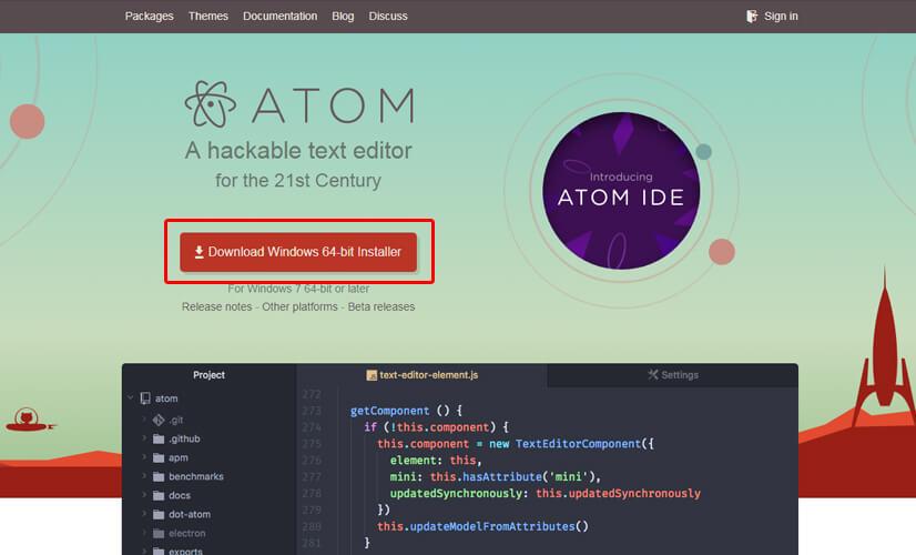 Atomをダウンロード