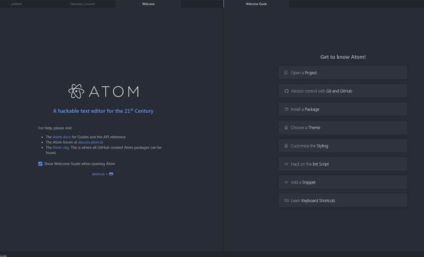 Atomを開く